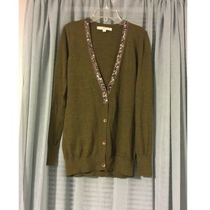 LOFT Sparkly Olive Green Sweater